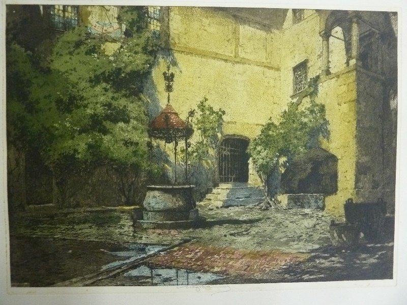 Signed Luigi Kasimir  Color Etching (1881-1962) marked - 2