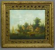 Early 20th Century oil on canvas Village scene with