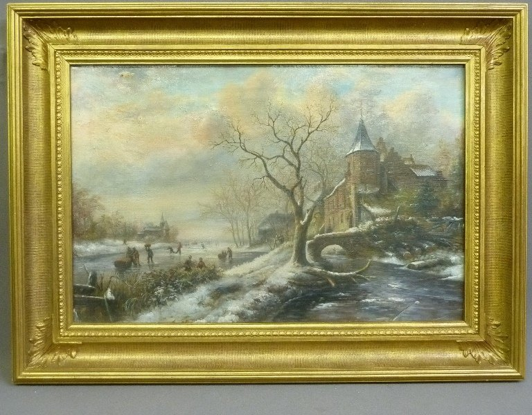 19th Century Winterscape oil on canvas people skating