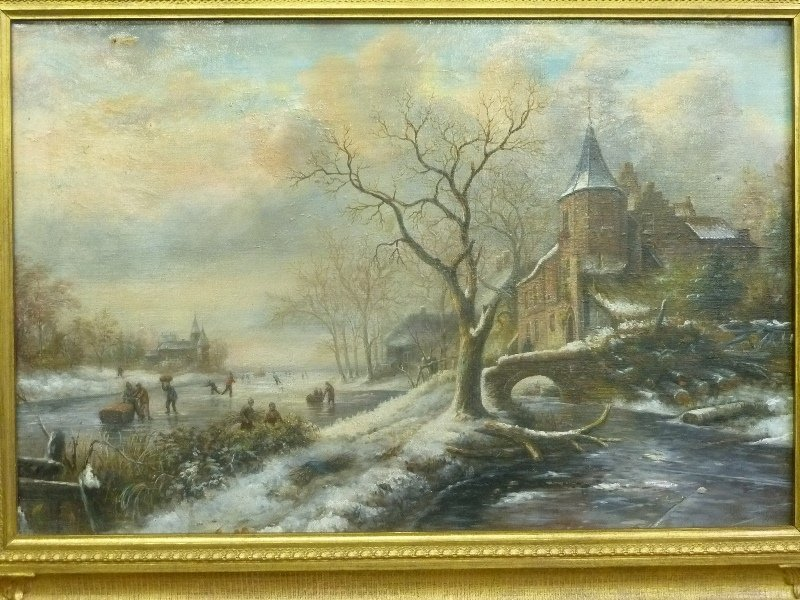 19th Century Winterscape oil on canvas people skating - 2