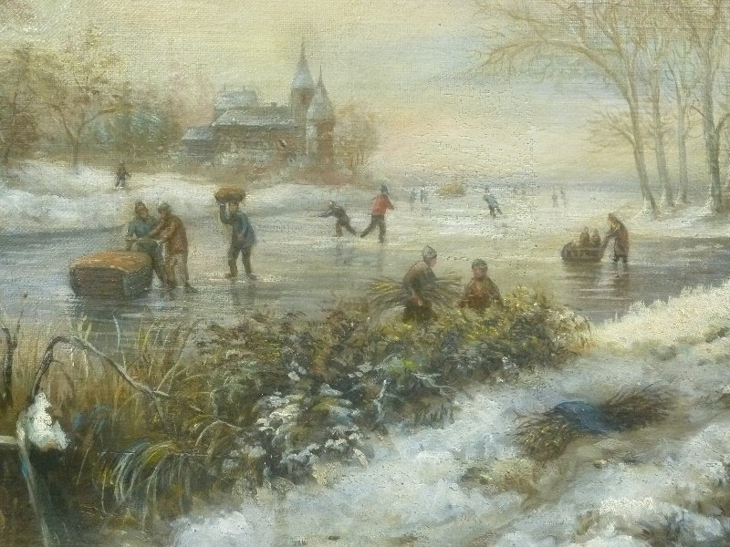 19th Century Winterscape oil on canvas people skating - 3