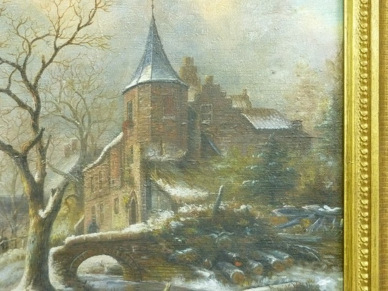 19th Century Winterscape oil on canvas people skating - 4