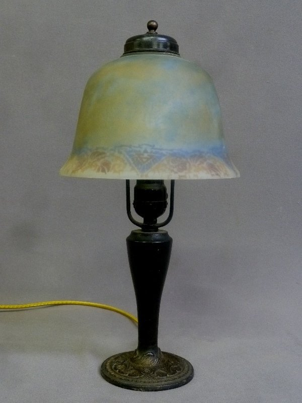 Circa 1920 Reverse Painted Boudoir Table Lamp signed