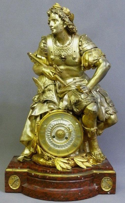 1870's Massive Silvered & Gilt Bronze Statue Clock