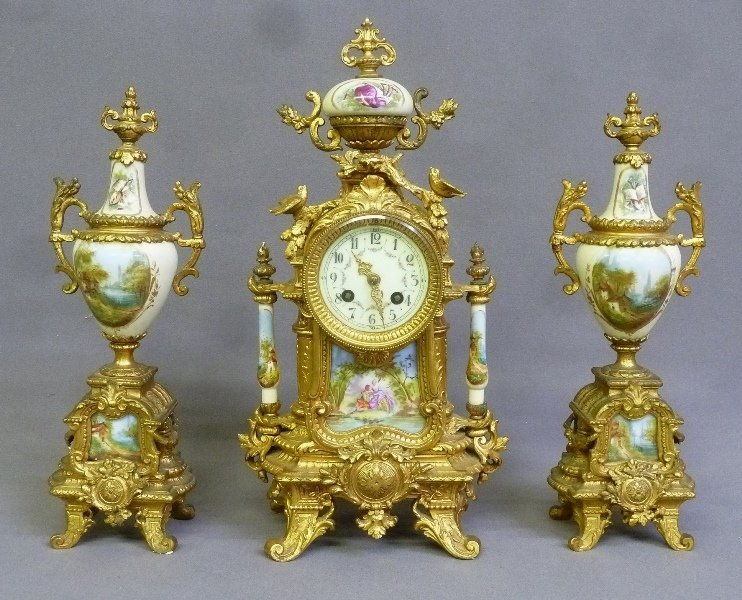 Circa 1900 3 pc Porcelain & Metal French Clock Set with