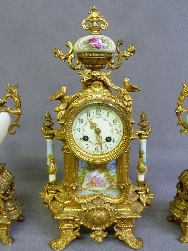 Circa 1900 3 pc Porcelain & Metal French Clock Set with - 2