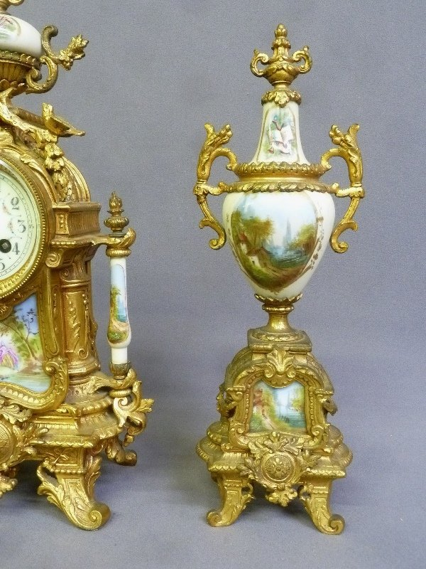 Circa 1900 3 pc Porcelain & Metal French Clock Set with - 3