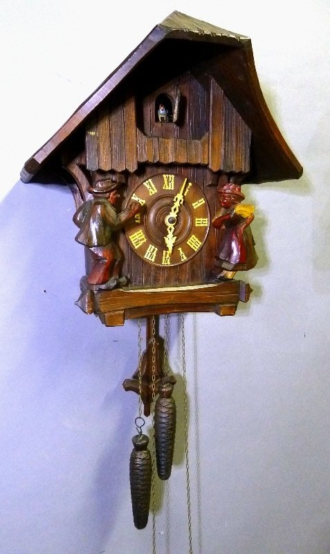 Signed Black Forest Carved Coo Coo Clock with Boy and