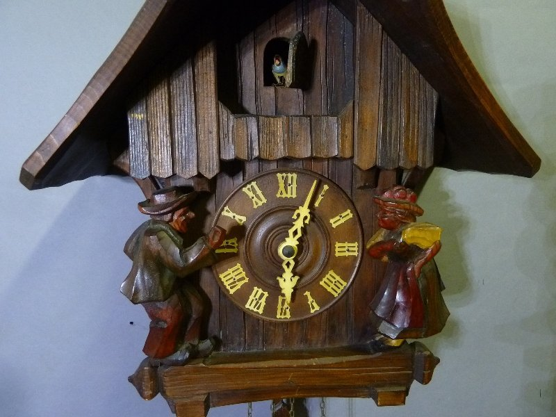 Signed Black Forest Carved Coo Coo Clock with Boy and - 2