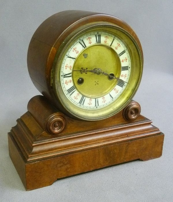 19th Century Time & Strike Porcelain Dial Walnut Clock
