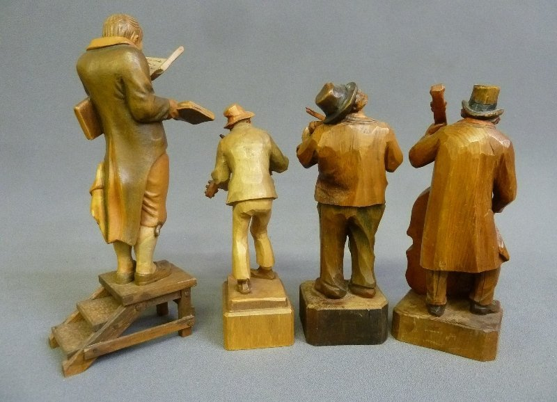 4 Hand Carved Wooden Figures with Musicians and - 2