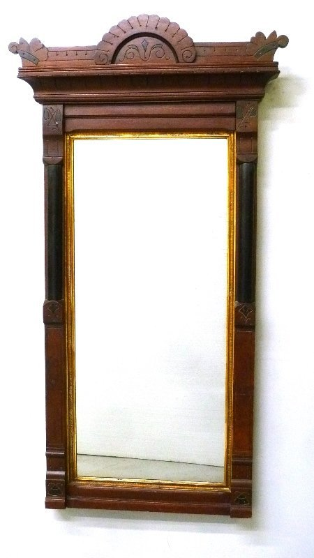Circa 1870's Walnut Hanging Mirror with Line carved