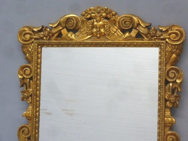 Carved Wood Gold Leaf Unusual Mirror with Child's Face - 2