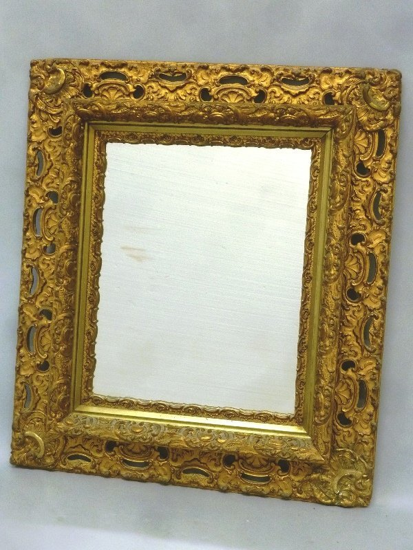 Circa 1900 Gold Leaf Antique Mirror in Frame.  Heght