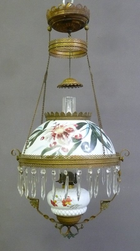 C 1900 Hand Painted Hanging Oil Lamp with Prisms, has