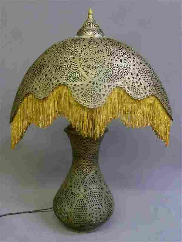Pierced Brass Table Lamp w/Shade and Fringe. Marked
