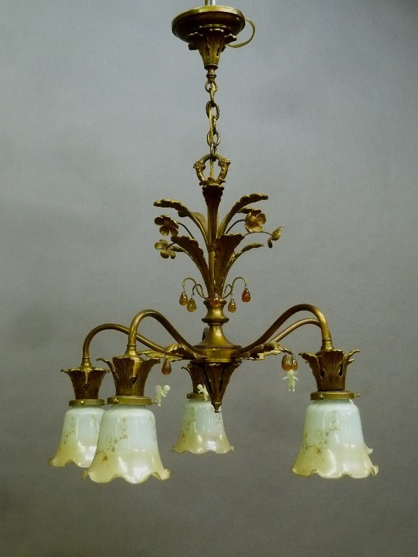 Circa 1920 5 Arm Brass Floral Decorated Chandelier with