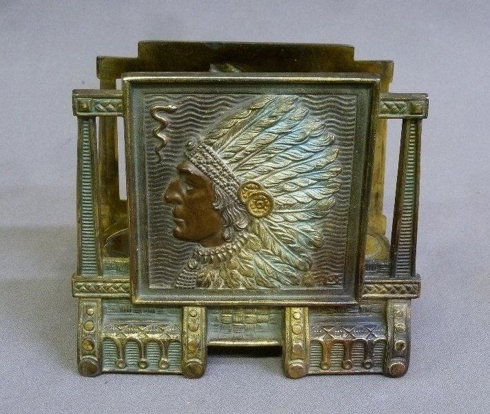 Circa 1920's Native American with Headress Cast Metal
