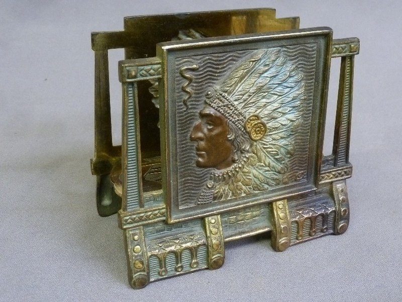Circa 1920's Native American with Headress Cast Metal - 2