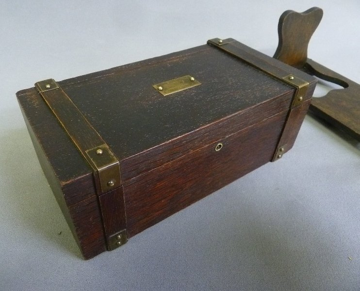 2 pieces C 1910 Mission Style Oak Box w/brass & Folding - 2