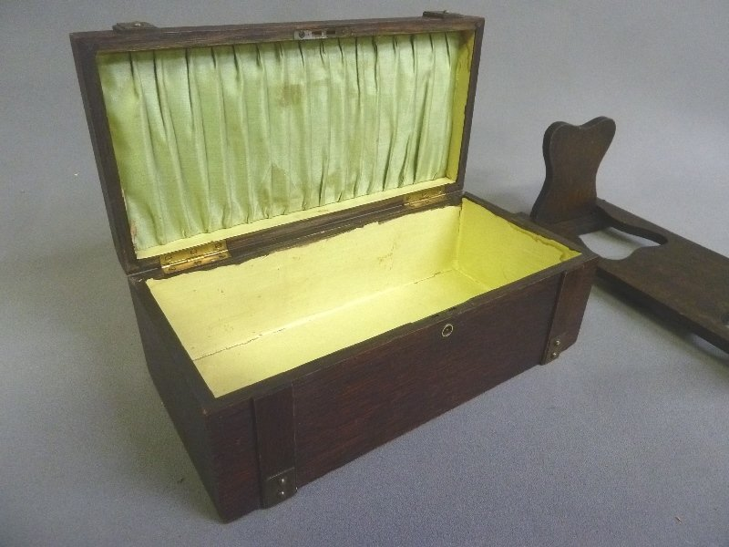 2 pieces C 1910 Mission Style Oak Box w/brass & Folding - 3