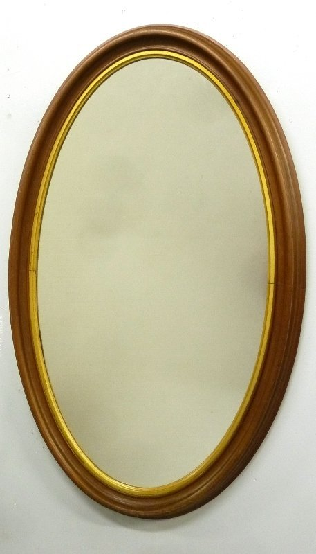 American Circa 1860's Walnut Oval Mirror with Gilded