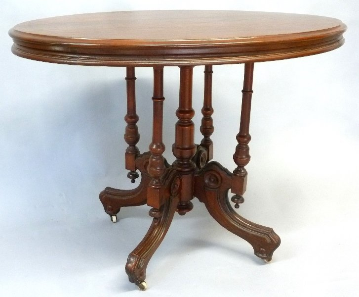Circa 1860's Walnut Oval Wood Top Parlor Table with