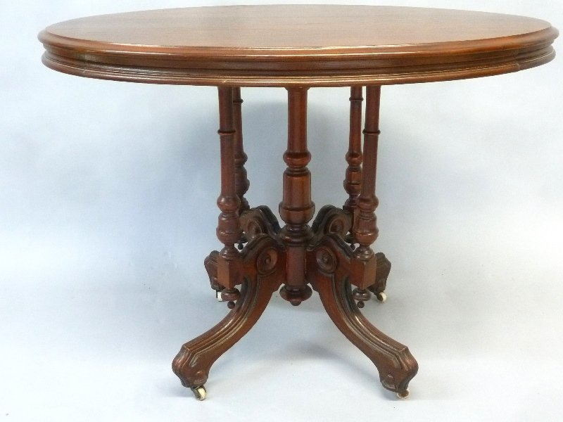 Circa 1860's Walnut Oval Wood Top Parlor Table with - 2