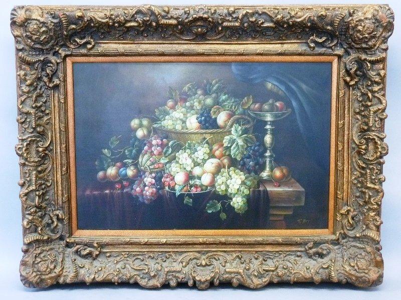 Oil on Canvas Fruit Still life in Ornate Frame - width
