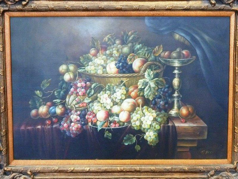 Oil on Canvas Fruit Still life in Ornate Frame - width - 2