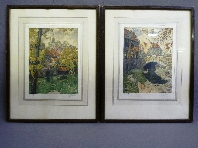Two 1930's Color Etchings Pencil signed on right  by