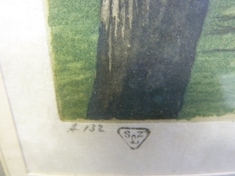 Two 1930's Color Etchings Pencil signed on right  by - 7