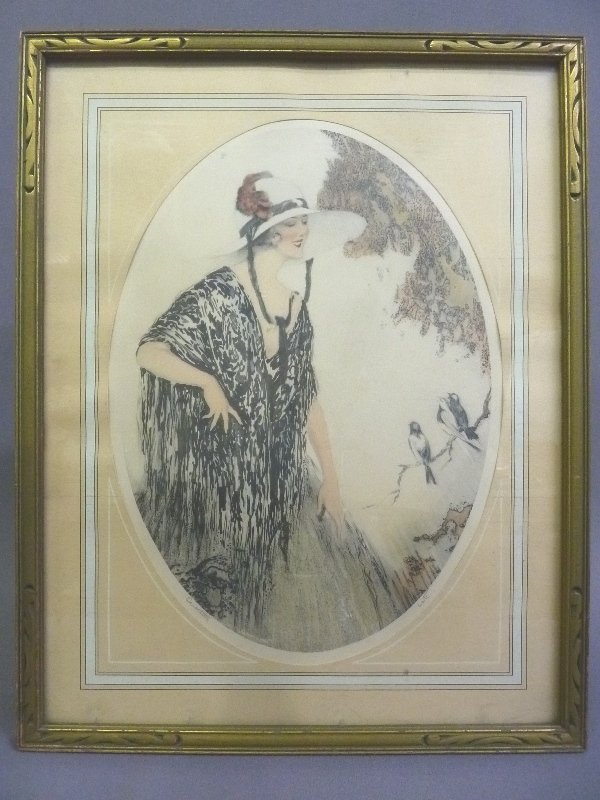 Circa 1930's Original Color Etching in the Style of