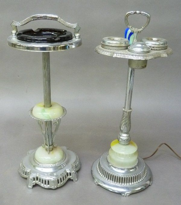 2 Art Deco Ash Trays with Stone Onyx on bases. One has
