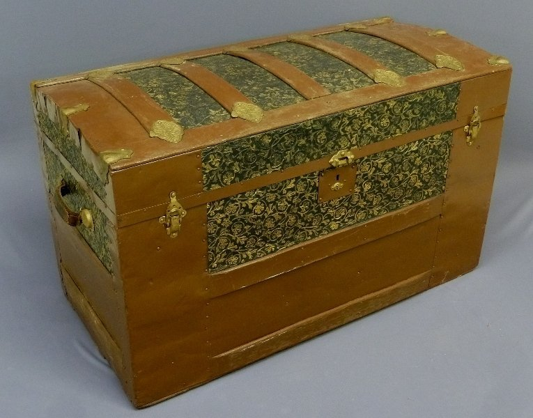 Circa 1900 Antique Hump Back Trunk with Tin and Wood