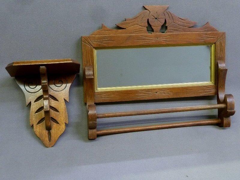 Circa 1880's Walnut Towel Rack with Mirror and Shelf -