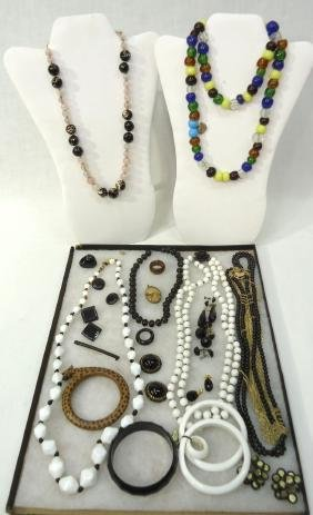Lot Lucite, Wooden, Rose Quartz Jewelry