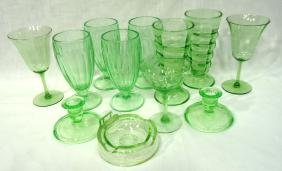 12pc Green & Vaseline Glass