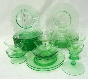 27pc Green & Vaseline Glass