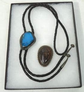 Navajo Silver, Turq. & Agate Bolo