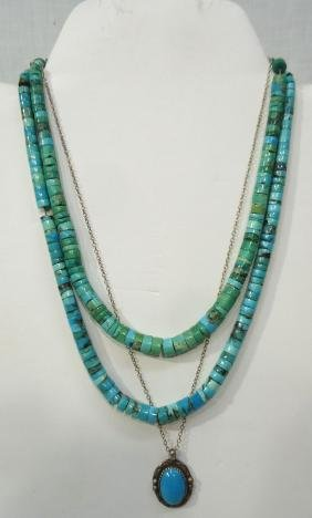 3 Navajo Turquoise Necklaces