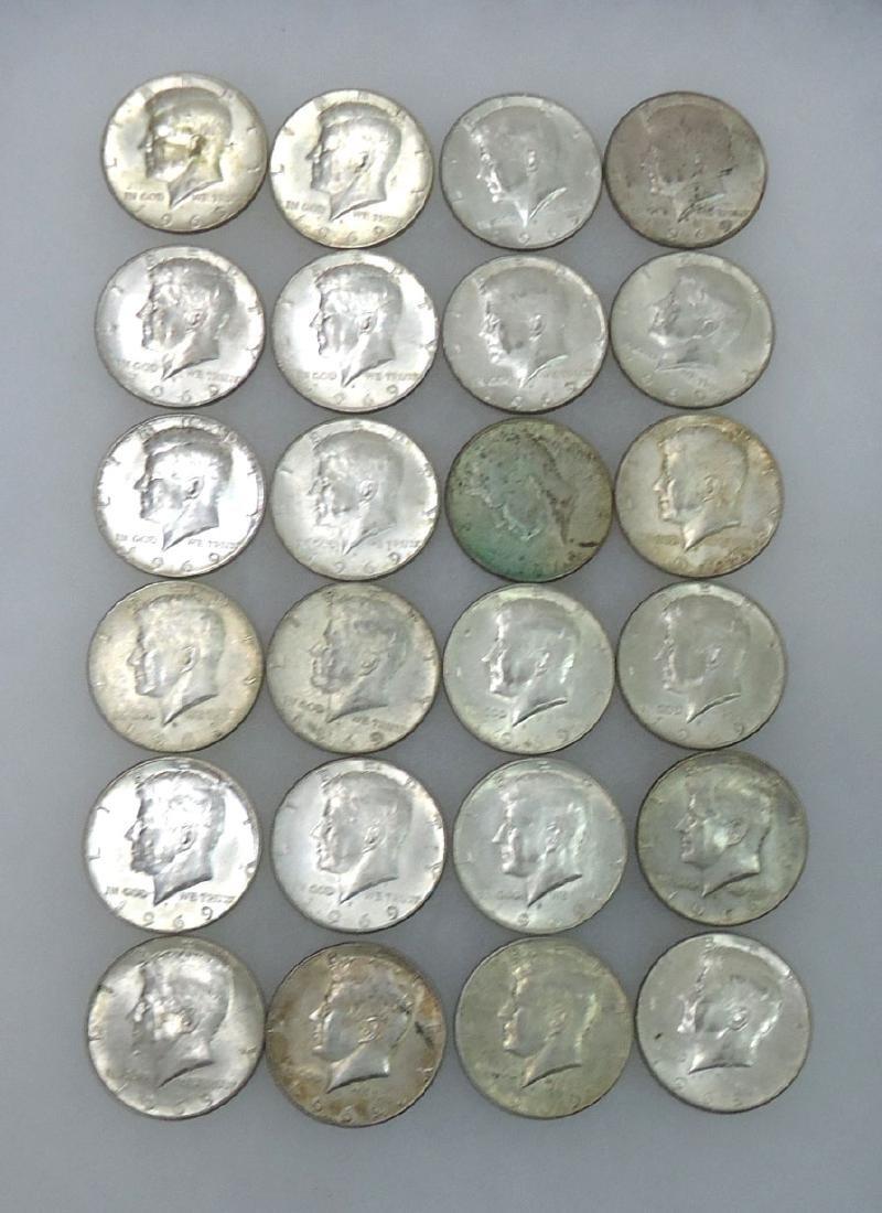 (24) 1969 Kennedy Half Dollars