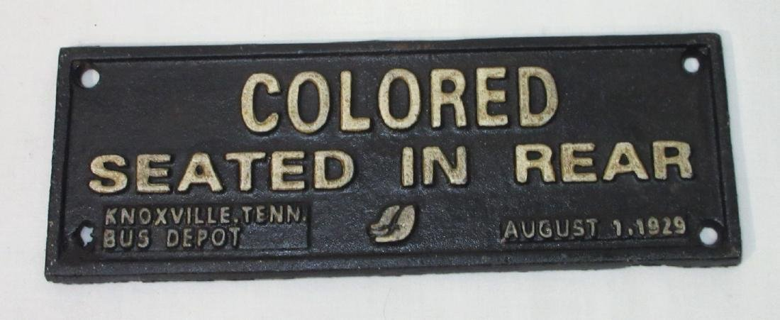 "Modern C.I. ""Colored Seated in Rear"" Sign"