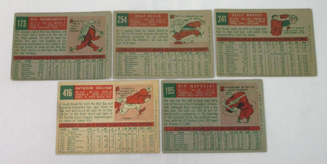 (5) 1959 Tops Baseball Cards - 2