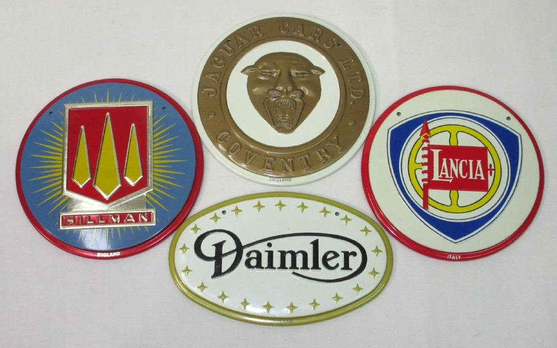 4 Foreign Tin Car Emblem Tags