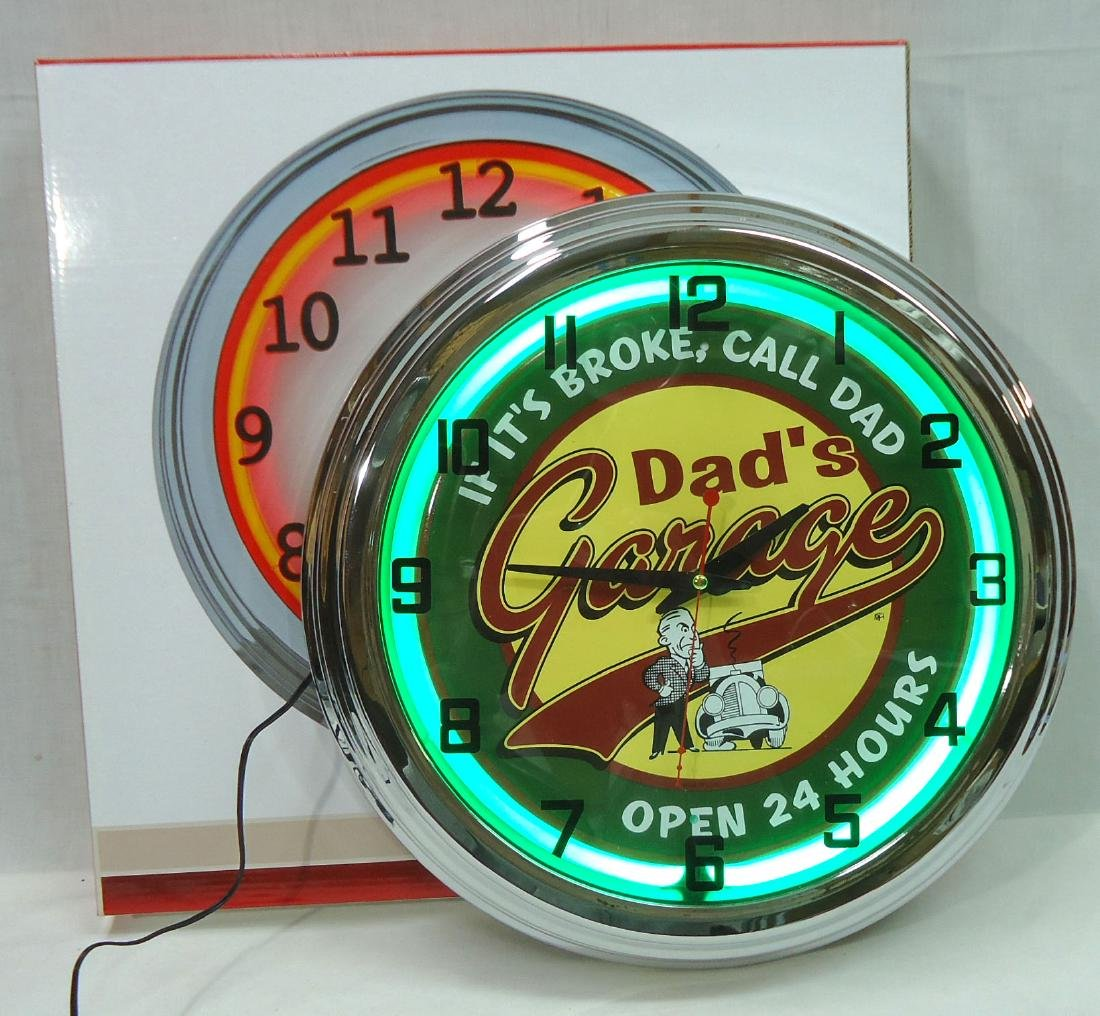 "Modern ""Dad's Garage"" Neon Clock NIB"
