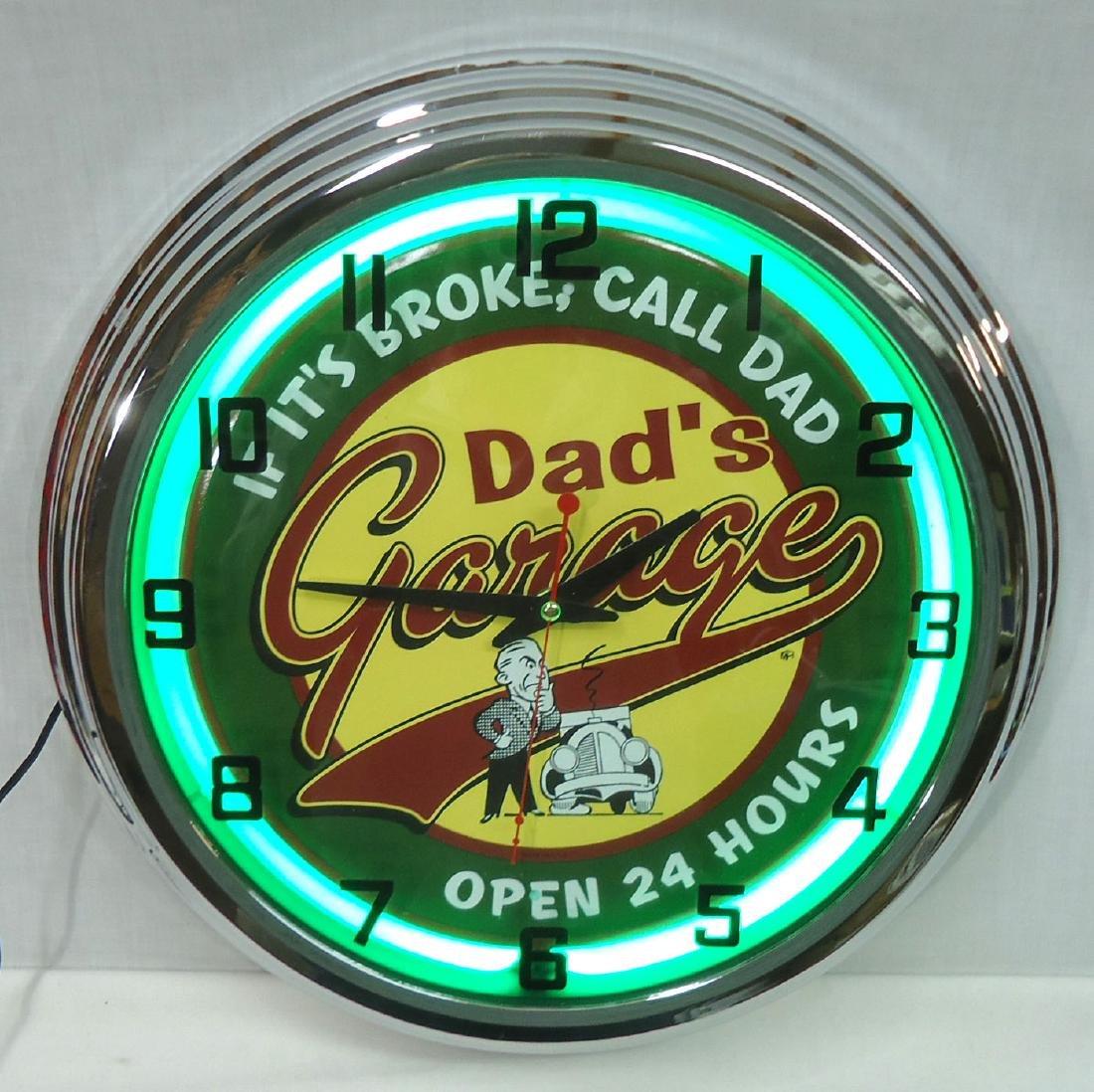 "Modern ""Dad's Garage"" Neon Clock NIB - 2"