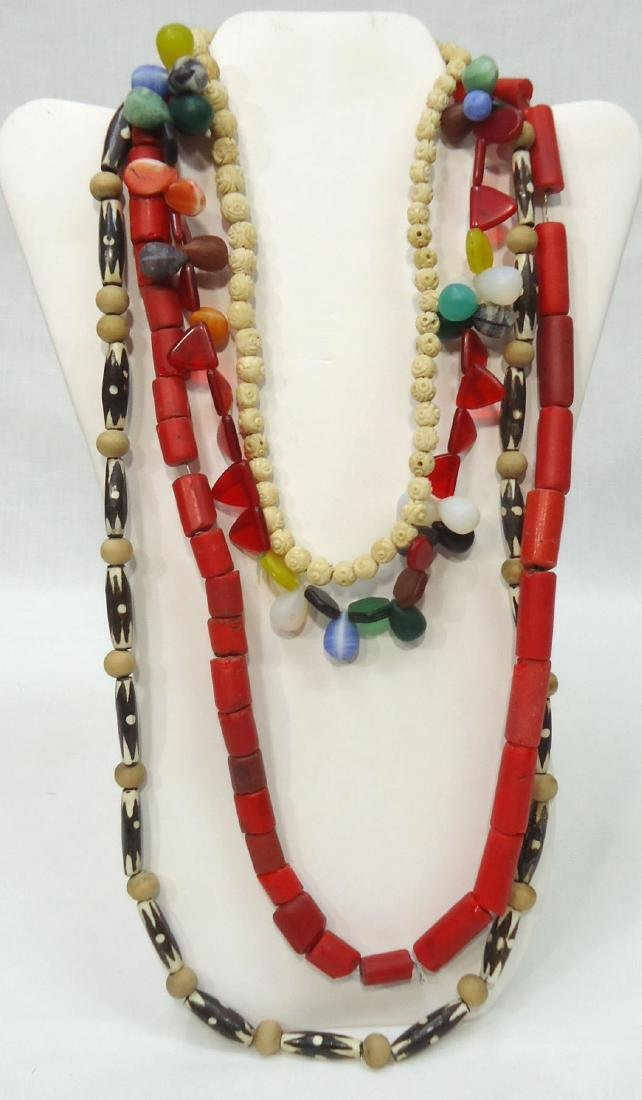 4 African Bead Necklaces