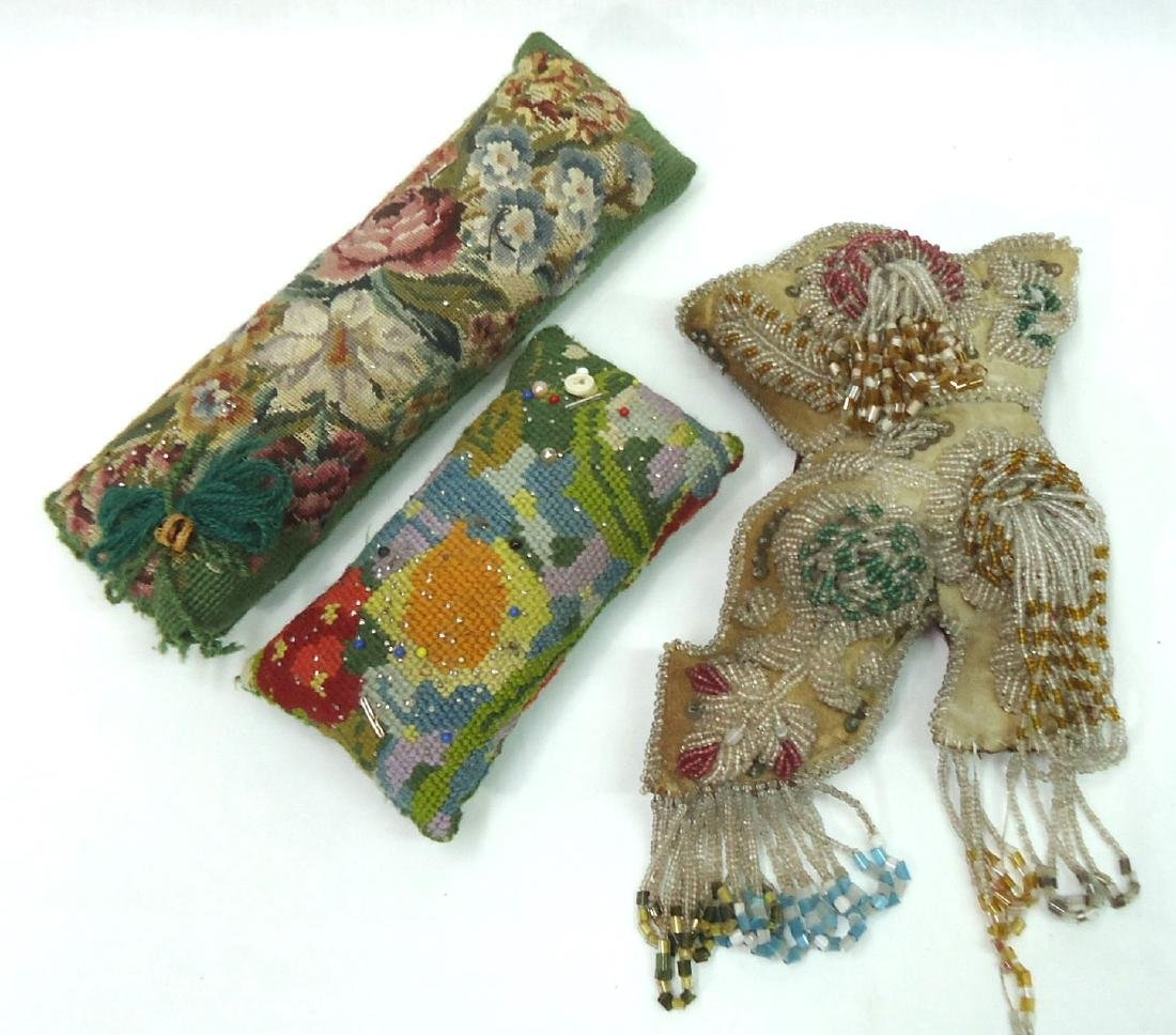 3pcs Victorian Needlepoint & Bead Work