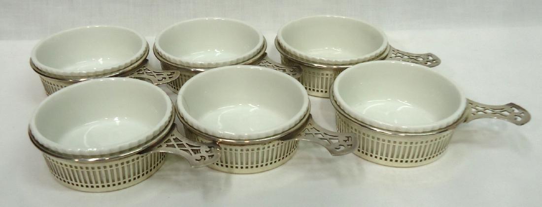 6 Ramekins w/ Sterling Silver Holders